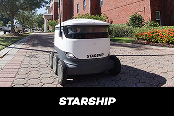 Learn more about Starship, a small robotic delivery vehicle that navigates the sidewalks at Georgia Southern.