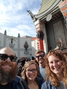 A group of students in front of a Chinese Theatre in Los Angeles