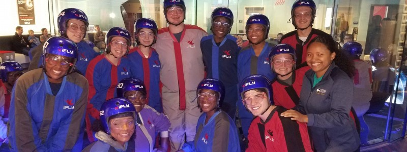 Lab LLC students taking a break from their studies at iFly Atlanta
